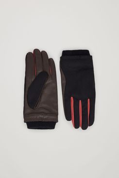 COS Woven-Leather Contrast-Panel Gloves
