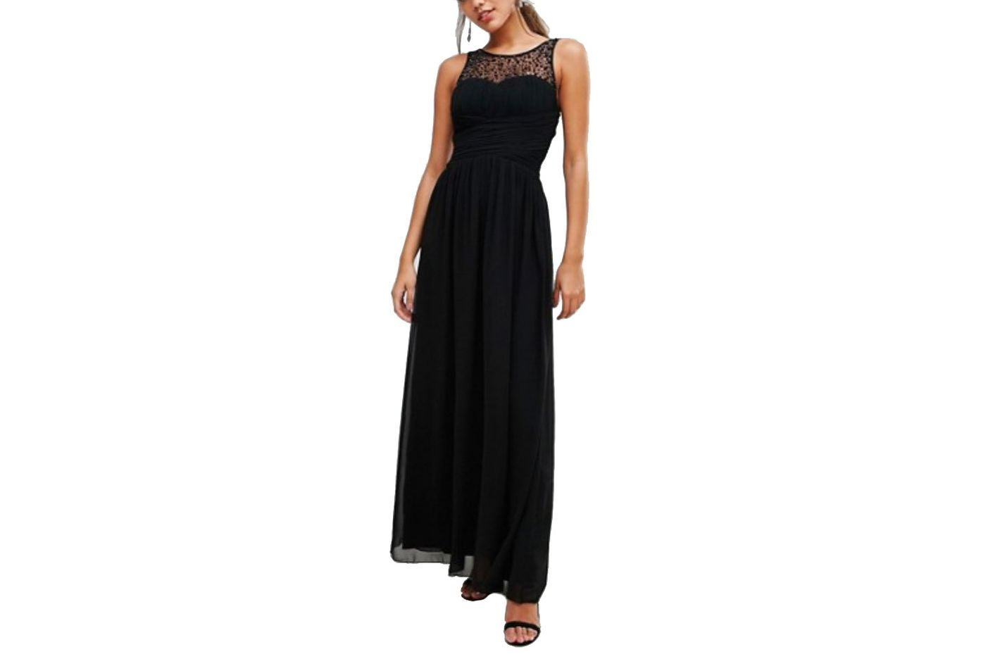 Little Mistress Embellished Top Ruched Maxi Dress