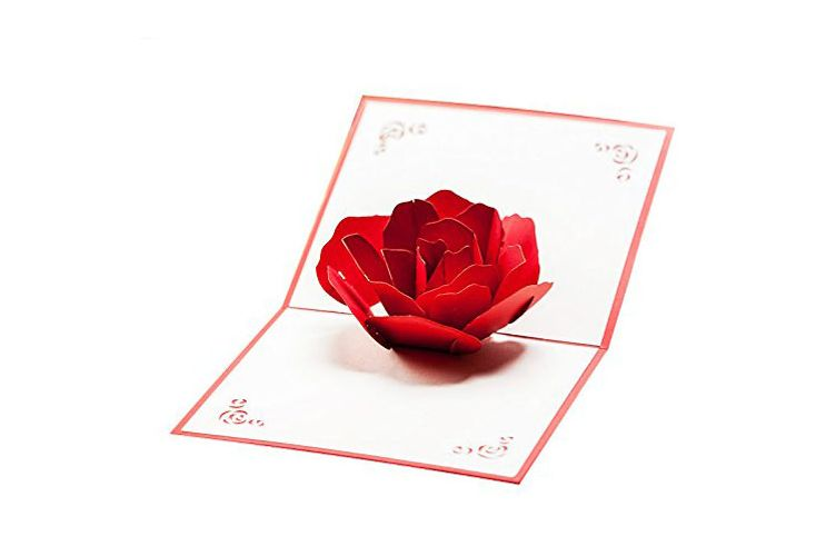 Hunger Handmade 3D Pop-up Rose Flower Card