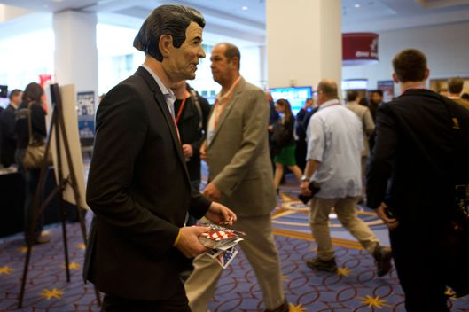A man wearing a mask of former President A man wearing a mask of former President Ronald Reagan walks through the exhibit hall during the 40th annual Conservative Political Action Conference in National Harbor, Md., Friday, March 15, 2013.  walks through the exhibit hall during the 40th annual Conservative Political Action Conference in National Harbor, Md., Friday, March 15, 2013. (AP Photo/Jacquelyn Martin)