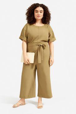 Everlane Japanese GoWeave Short-Sleeve Jumpsuit, Olive