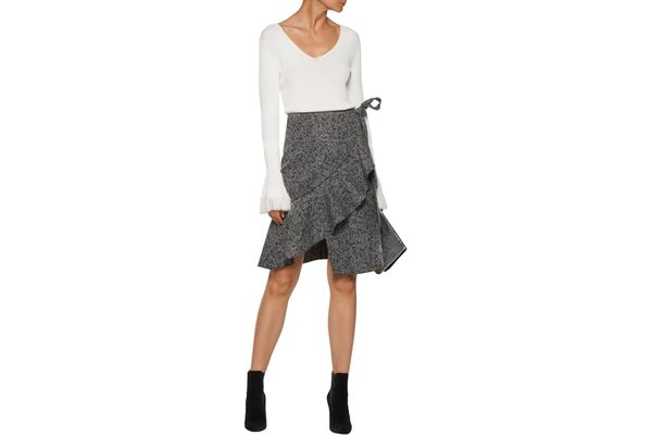 Goen.J ruffled crepe-jacquard wrap skirt