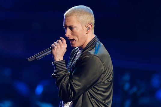 Eminem performs on stage at the 2014 MTV Movie Awards in Los Angeles, California April 13, 2014.