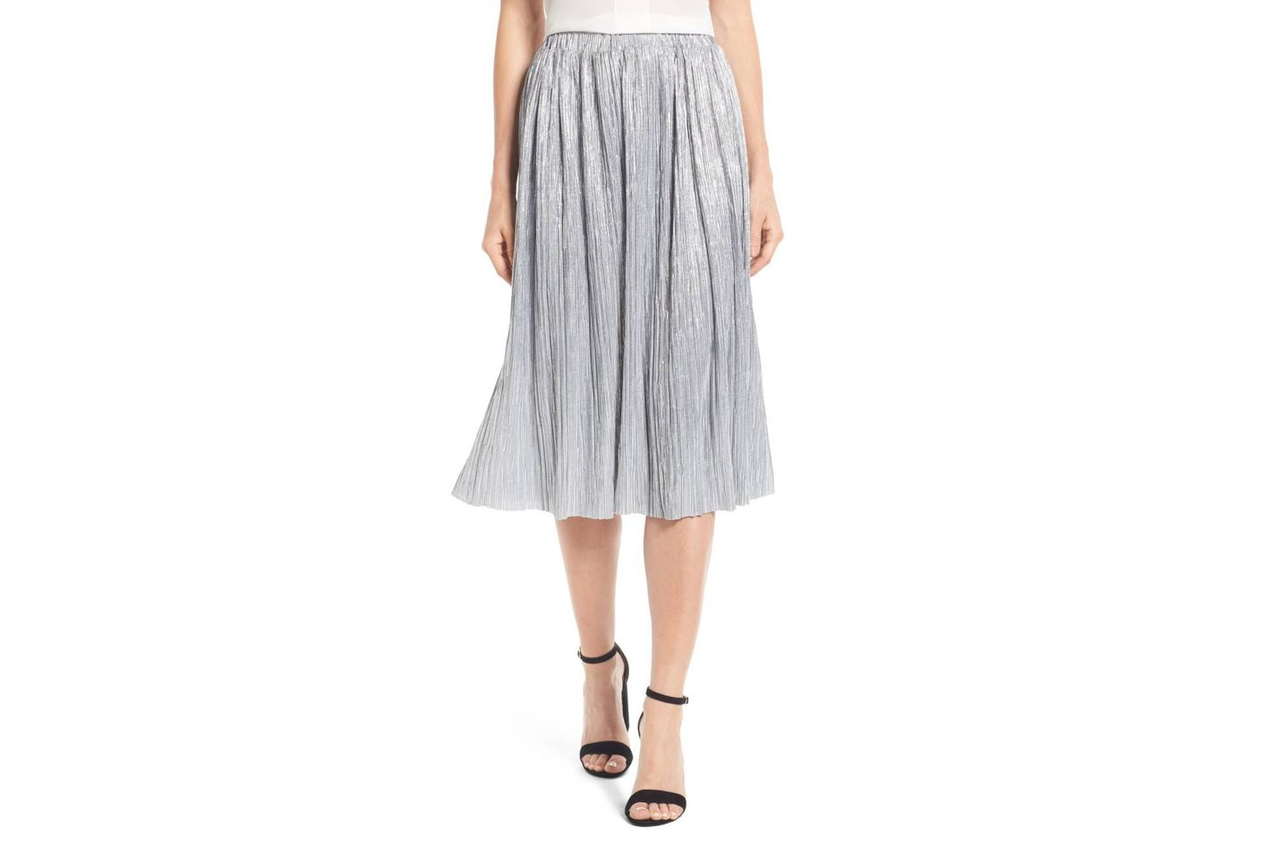 Vince Camuto Pleat Foiled Knit Skirt