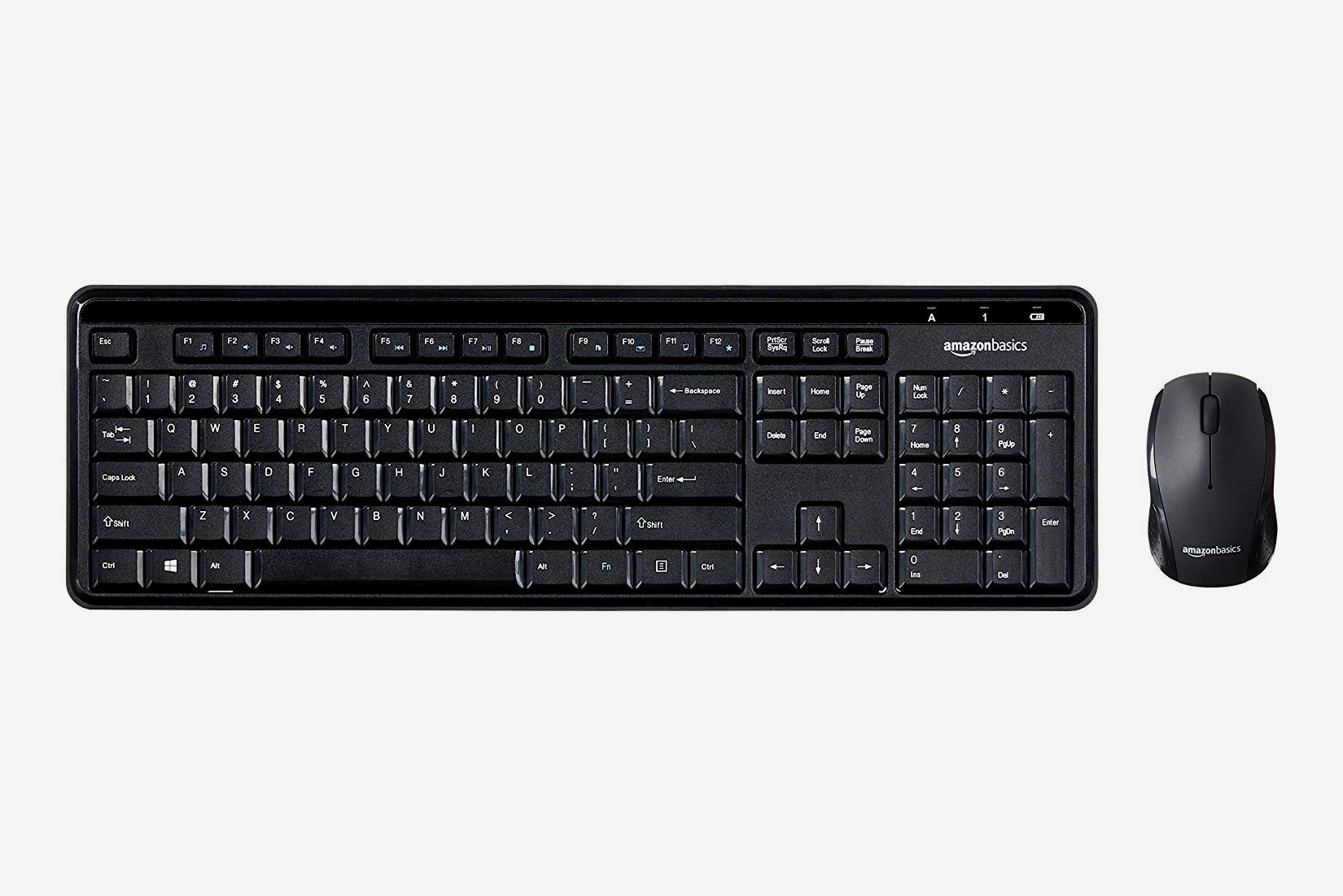 a2462e540f8 AmazonBasics Wireless Computer Keyboard and Mouse Combo - Quiet and Compact