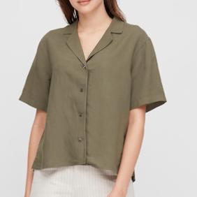 Uniqlo Linen Blend Short-Sleeve Shirt