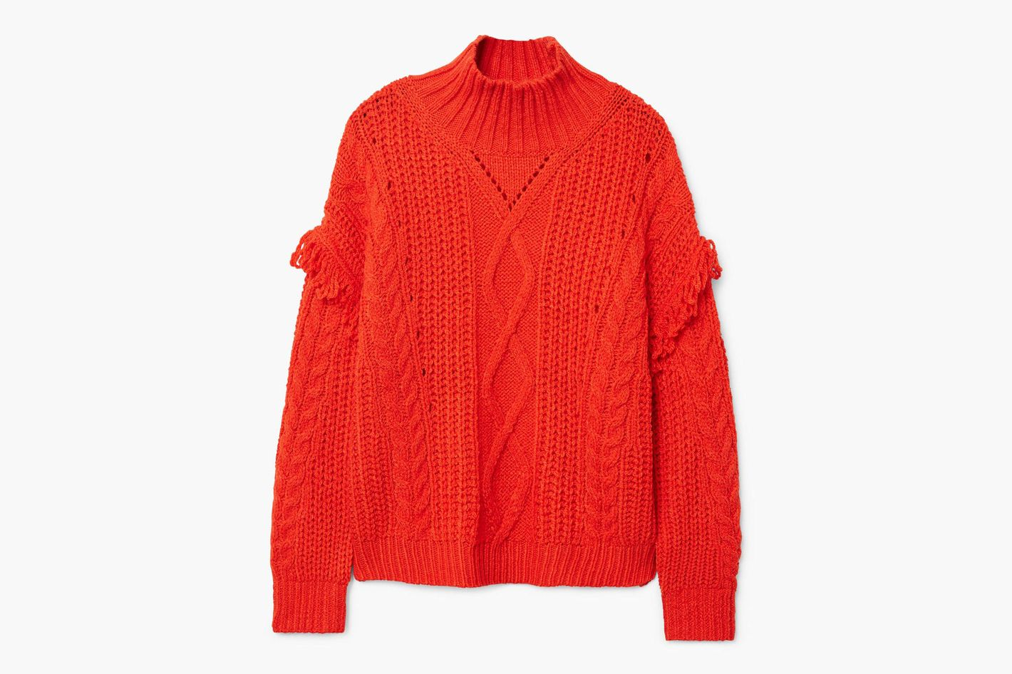 Mango Fringes cable-knit sweater