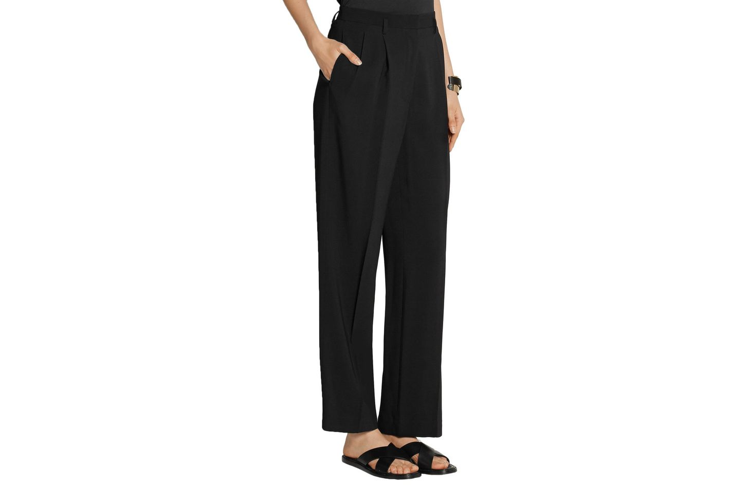 The Row Ray pleated stretch-cady wide-leg pants