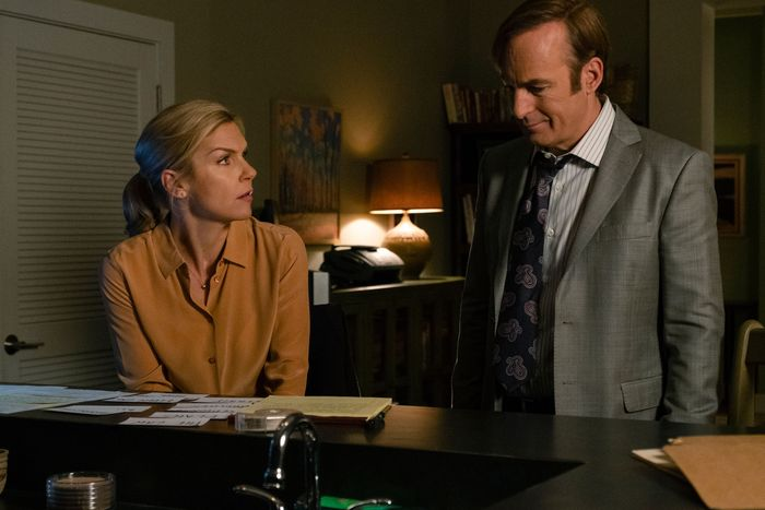 Rhea Seehorn as Kim, Bob Odenkirk as Jimmy.