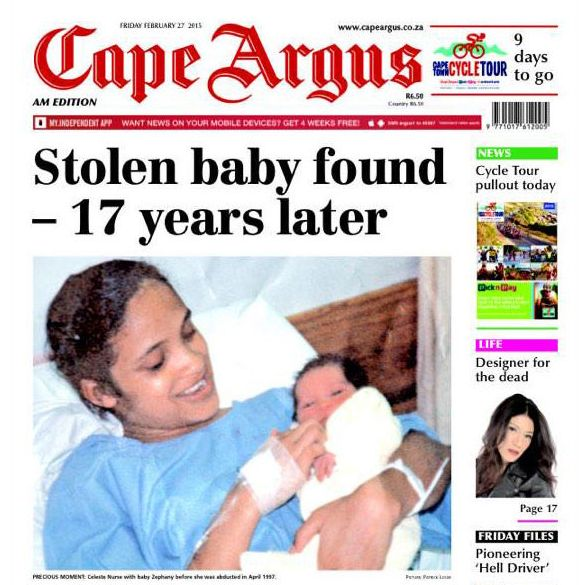 Baby Zephany Nurse, pictured 19 years ago just before she was kidnapped, with her biological mother Celeste Nurse.