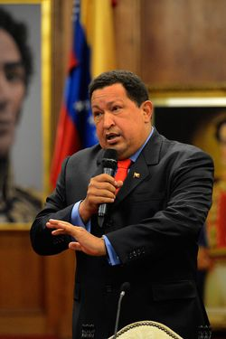 "Venezuelan President Hugo Chavez speaks during a press conference in Caracas on October 9, 2012. Chavez pledged to become a ""better president"" and work with the opposition after winning a tough re-election battle that betrayed simmering discontent at his socialist revolution. After almost 14 years in power, Chavez survived cancer and the most formidable opponent of his presidency, youthful business leader and former state governor Henrique Capriles, to win another six-year term."