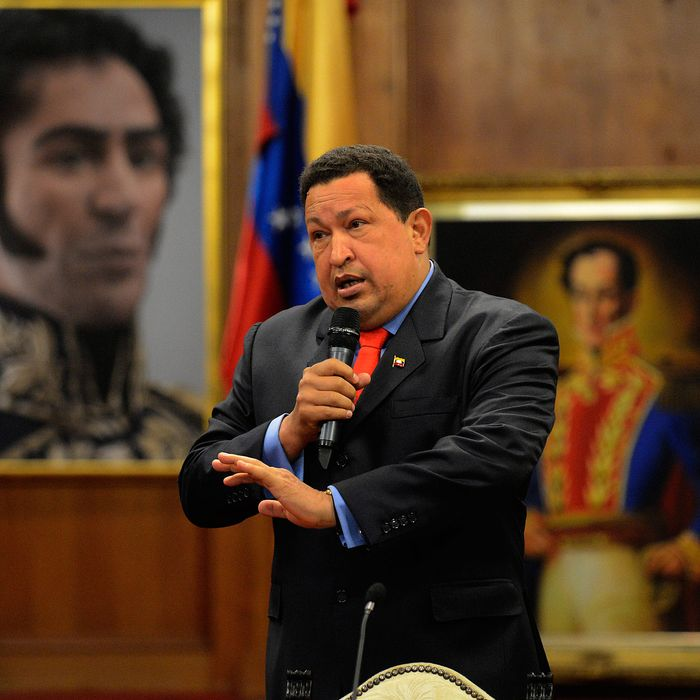 Venezuelan President Hugo Chavez speaks during a press conference in Caracas on October 9, 2012. Chavez pledged to become a