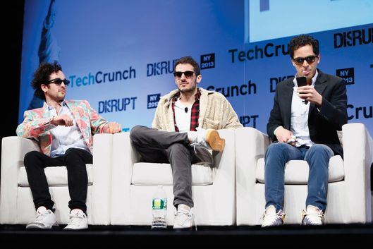 (L-R): Tom Lehman, Ilan Zechory and Mahbod Moghadam of Rap Genius  speak onstage at TechCrunch Disrupt NY 2013 at The Manhattan Center on May 1, 2013 in New York City.