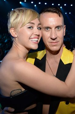 INGLEWOOD, CA - AUGUST 24:  Miley Cyrus and Jeremy Scott attend the 2014 MTV Video Music Awards at The Forum on August 24, 2014 in Inglewood, California.  (Photo by Kevin Mazur/MTV1415/WireImage)