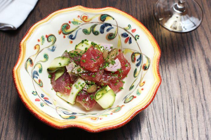 Tuna crudo with zucchini, lampascioni, caperberries, and lime.