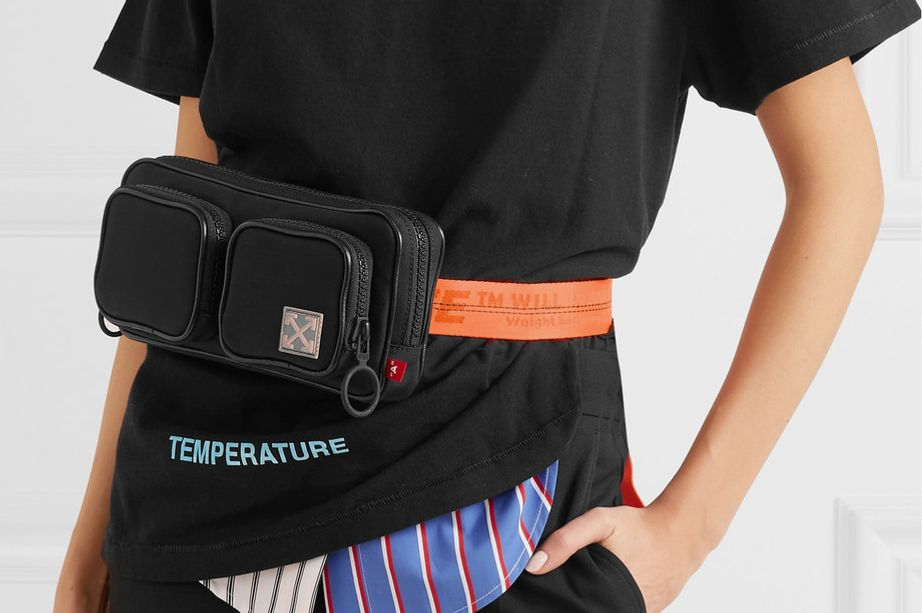 Off-White Leather-Trimmed Canvas Belt Bag