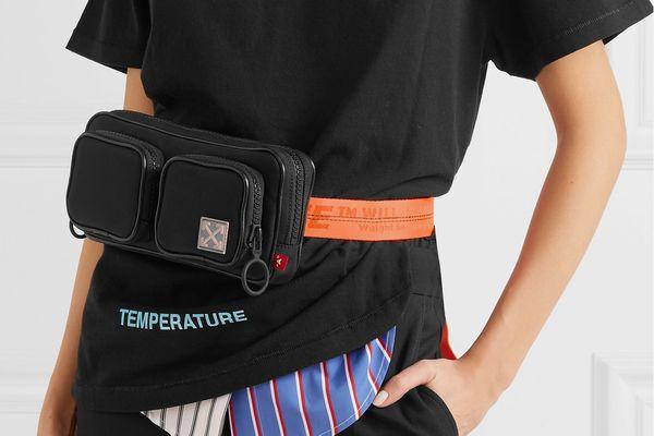 Off-White Leather-Trimmed Canvas Belt Bag