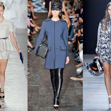 From left: Spring looks from Jason Wu, Victoria Beckham, and Alexander Wang.