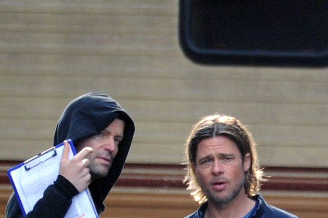 Brad Pitt on the set of 'World War Z' in Glasgow, Scotland.