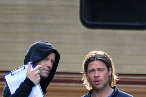 Brad Pitt on the set of 'World War Z' in Glasgow, Scotland. <P> Pictured: Brad Pitt  <P> <B>Ref: SPL308817  240811  </B><BR/> Picture by: SWNS / Splash News<BR/> </P><P> <B>Splash News and Pictures</B><BR/> Los Angeles:	310-821-2666<BR/> New York:	212-619-2666<BR/> London:	870-934-2666<BR/> photodesk@splashnews.com<BR/> </P>