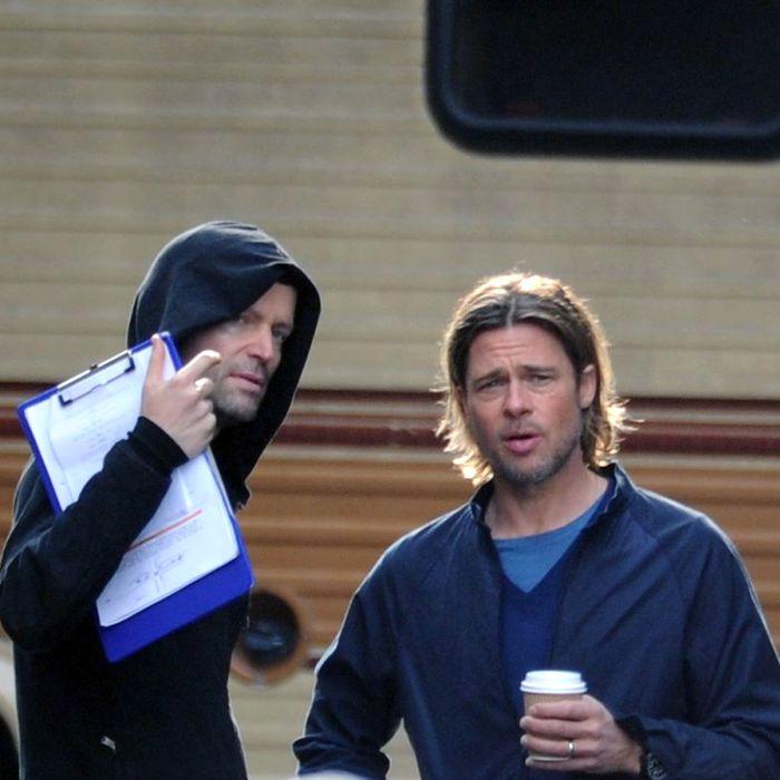 Brad Pitt on the set of 'World War Z' in Glasgow, Scotland.