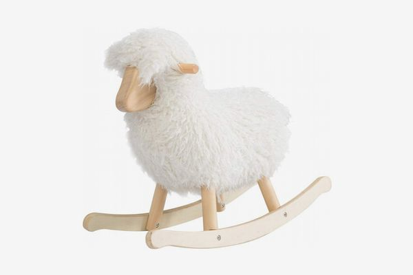 Jolie Vallée Wooden Lamb-Shaped Rocking Horse