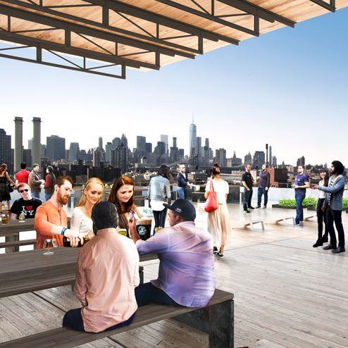 A rendering of the rooftop beer garden.