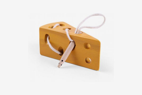 Wooden Cheese-and-Mouse Lacing Puzzle