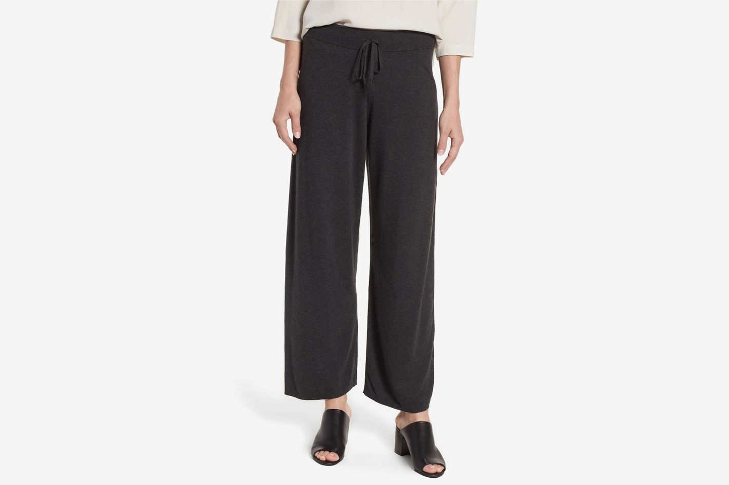 Eileen Fisher Tencel Blend Knit Wide Leg Pants