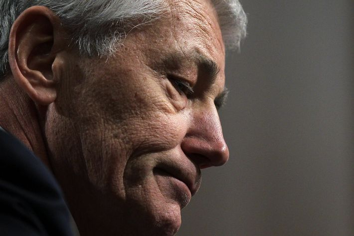 WASHINGTON, DC - JANUARY 31:  Former U.S. Sen. Chuck Hagel (R-NE) pauses as he testifies before the Senate Armed Services Committee during his confirmation hearing to become the next secretary of defense on Capitol Hill January 31, 2013 in Washington, DC. President Barack Obama nominated Hagel, a controversial choice as Hagel opposed former President George W. Bush and his own party on the Iraq War and upset liberals with his criticism of a gay ambassador, for which he later apologized.  (Photo by Alex Wong/Getty Images)