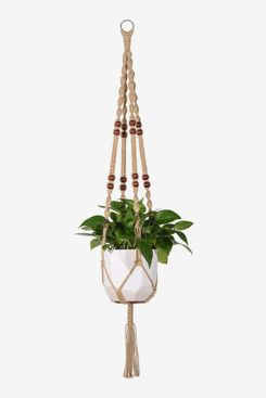 Mkono Macrame Jute Rope Plant Hanger with Beads