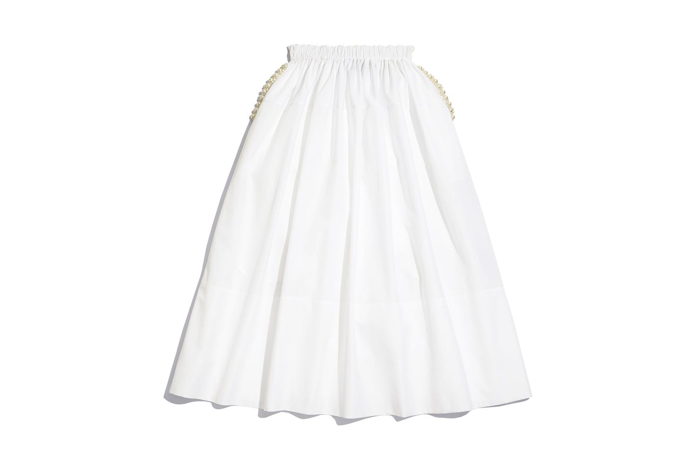 Simone Rocha Cotton Poplin Skirt with Pearl Embellishment