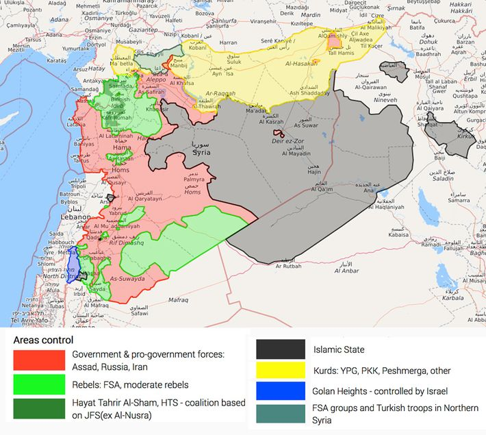 who controls what in syria as of tuesday illustration liveuamap