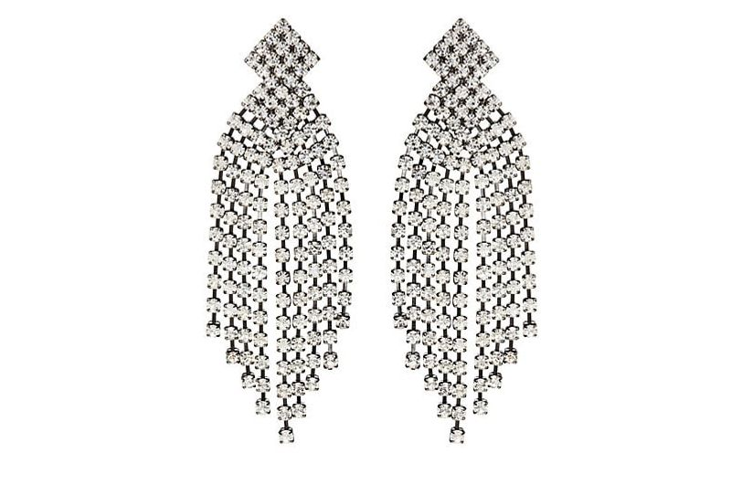 Kenneth Jay Lane Crystal-Embellished Cup-Chain Fringe Earrings