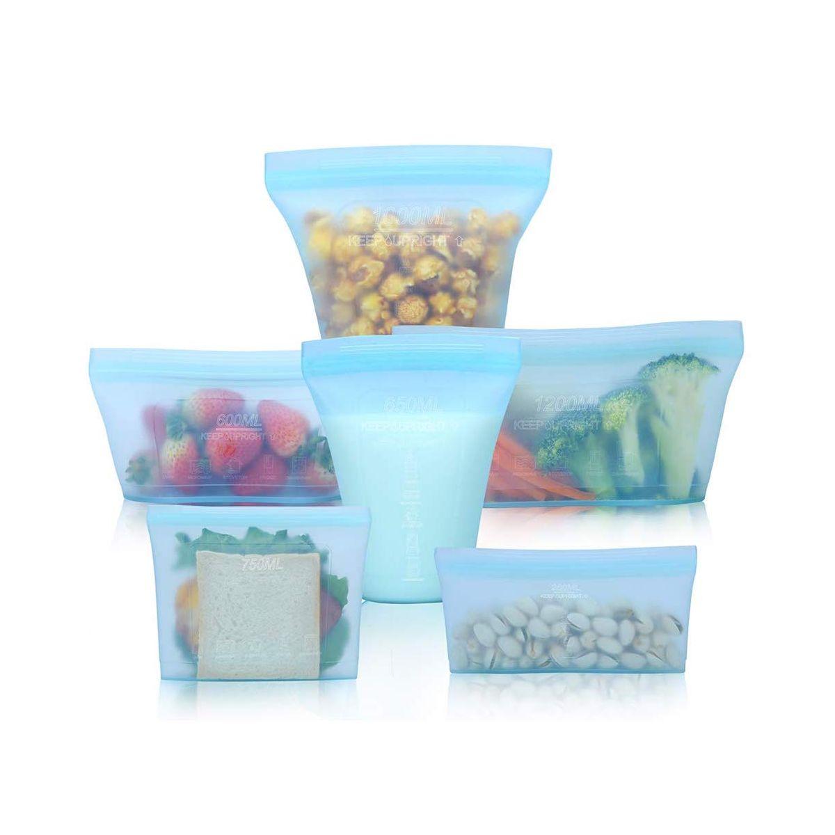 Silicone Fresh Bag Zip Shut Bags Food Storage Container Kitchen Organizer
