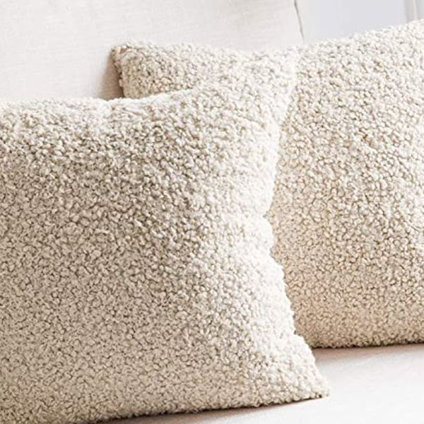 Miulee Pack of 2 Decorative Cream White Pillow Covers