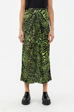 Ganni Silk Wrap Skirt, Lime Tiger