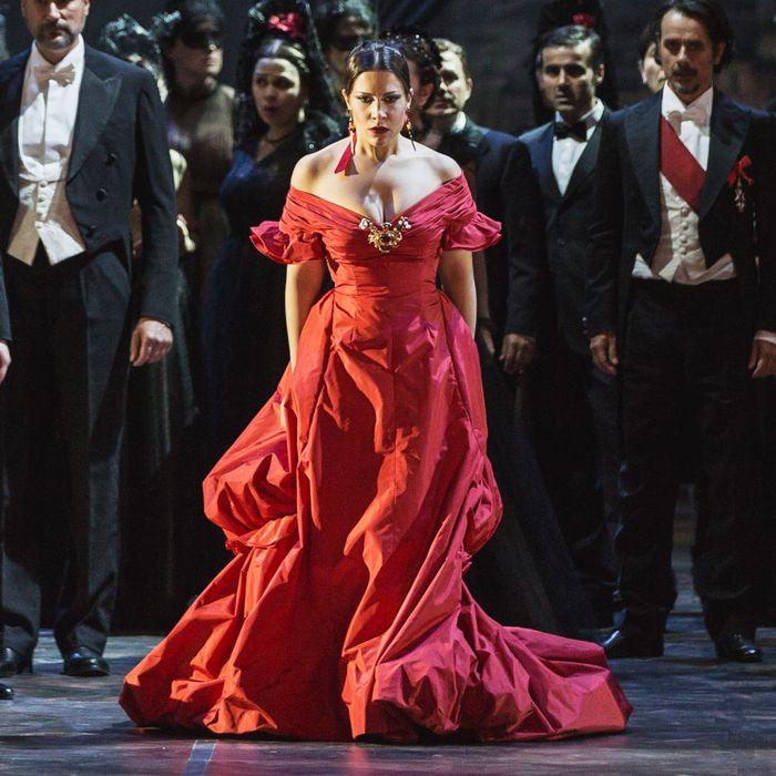 Francesca Dotto as Violetta in La Traviata, wearing a gown by Valentino.