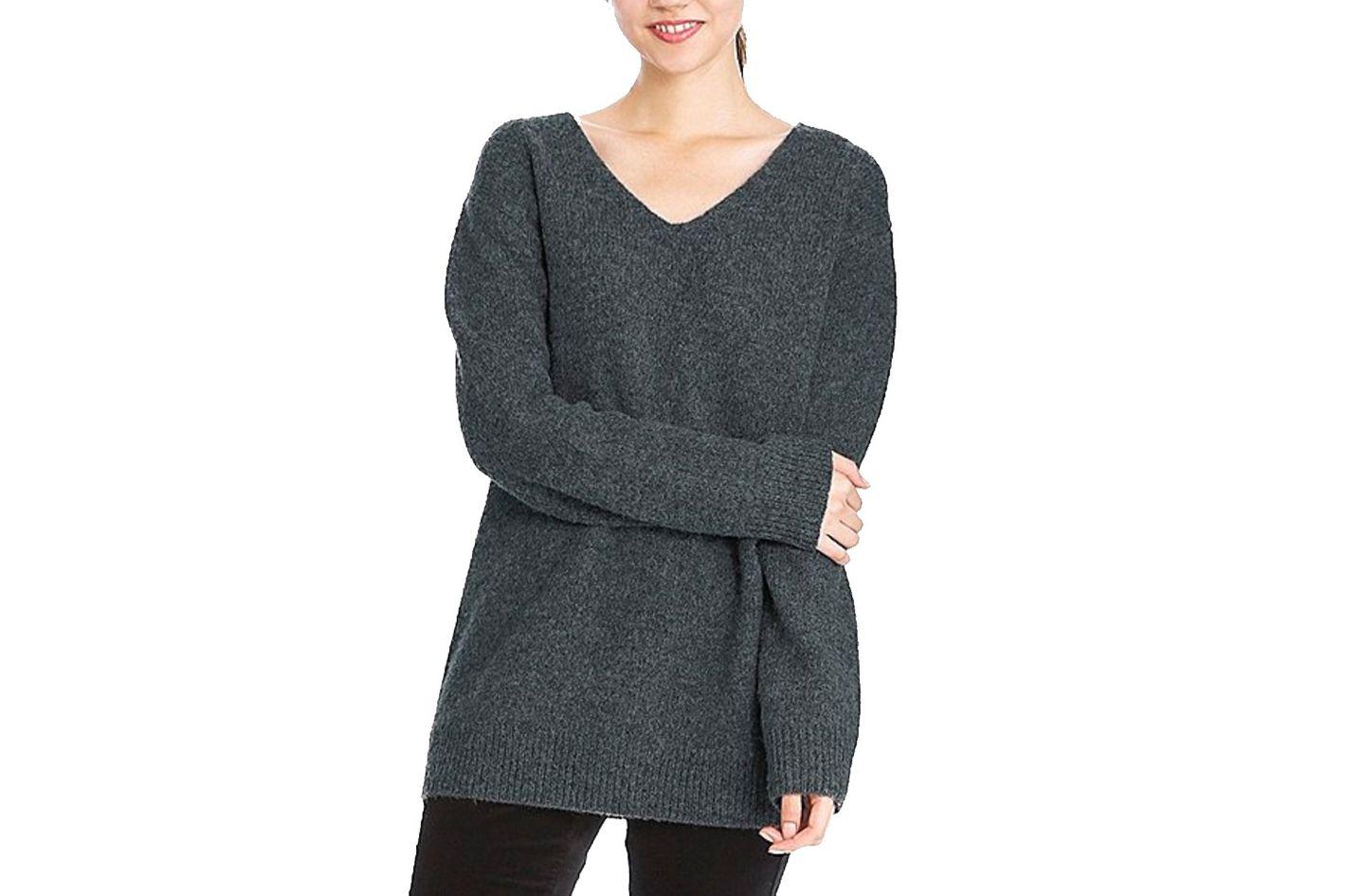 Melange Wool Tunic Sweater