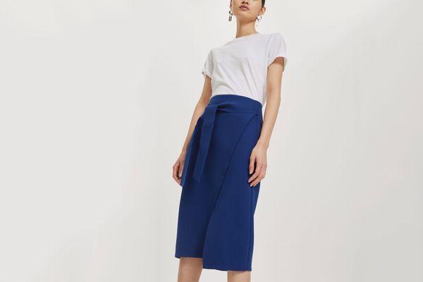 Topshop Posh Wrap Tie Midi Skirt $100.00