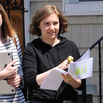 Lena Dunham on location for 'Girls' in the Greenpoint neighborhood of Manhattan.