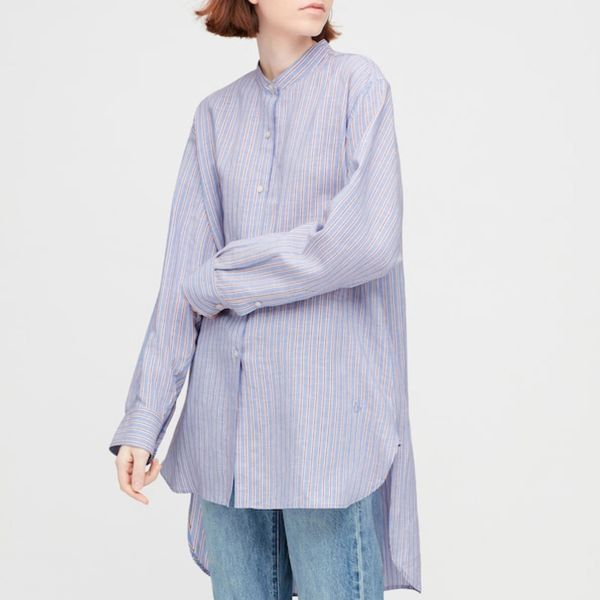 JW Anderson x Uniqlo Women Linen Blend Long-Sleeve Shirt