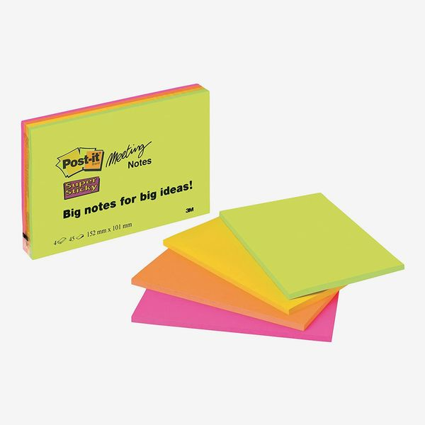 Post it Notes Super Sticky Note Pad, Green, Pink, Orange, Yellow (4 pads, 45 sheets per pad)
