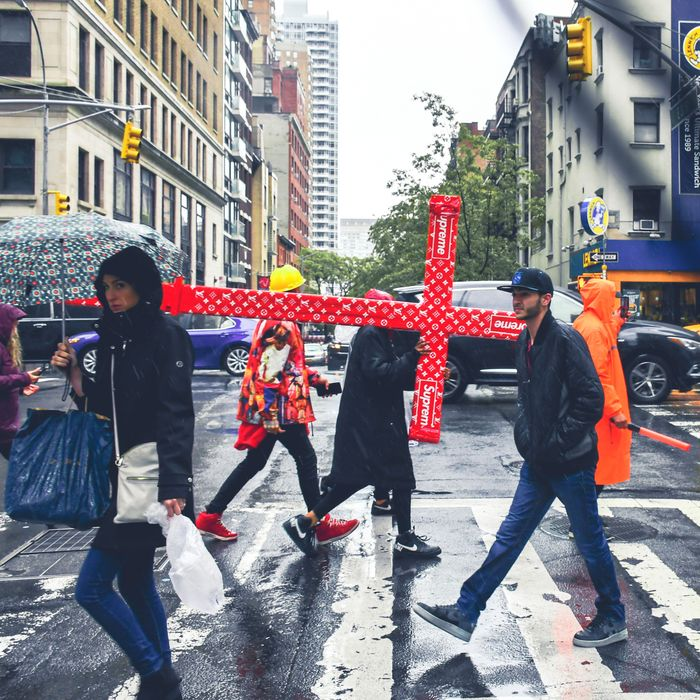 9fb96e9950cb58 Can You Believe Someone Carried a Supreme Crucifix Through New York