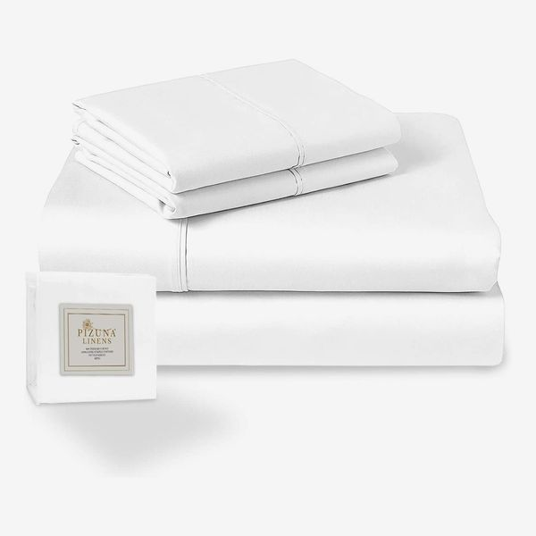 Pizuna 400-Thread-Count 100% Long Staple Cotton Queen Size Sheets Set