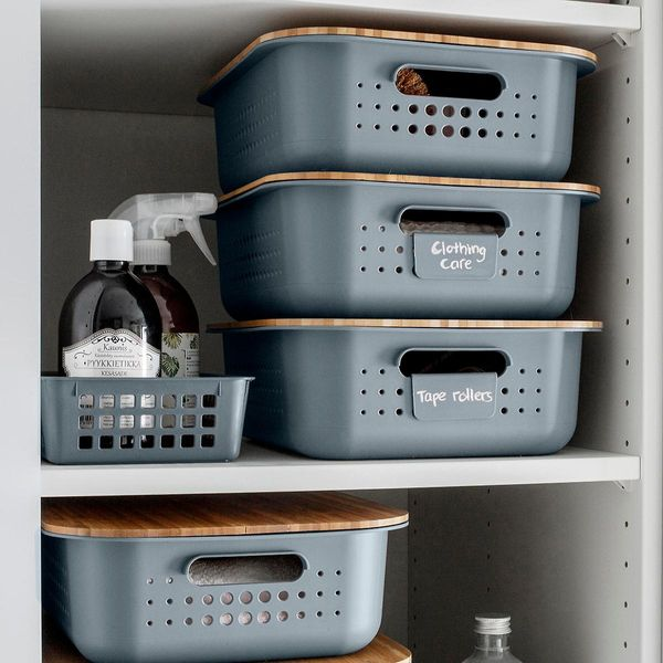 The Container Store Charcoal Nordic Storage Baskets with Handles
