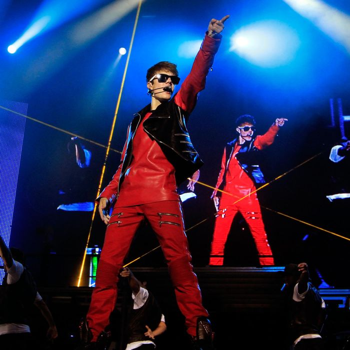 Canadian pop singer Justin Bieber performs during his My World Tour concert in Sao Paulo