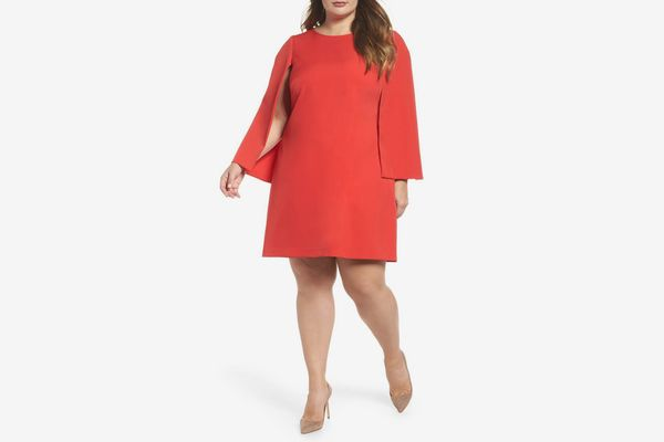 ELIZA J Jewel Neck Cape Sleeve Dress