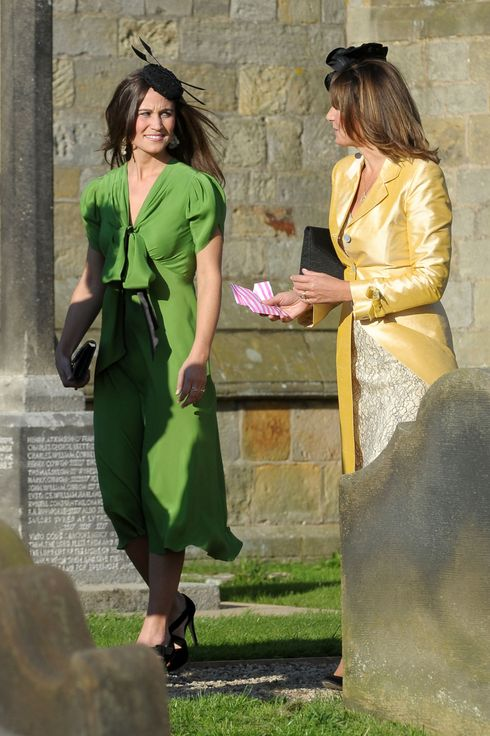 CREDIT - Jonathan Pow / rossparry.co.uk  Pippa Middleton, the sister of Kate Middleton, in a vivid green dress at the wedding of  Humphrey Bowles and Hattie Dawson at St. Oswalds Church, Lythe, near Whitby, North Yorkshire.