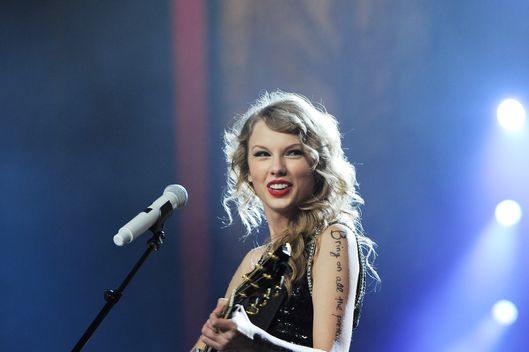 "NEW YORK, NY - NOVEMBER 22:  Taylor Swift performs onstage during the ""Speak Now World Tour"" at Madison Square Garden on November 22, 2011 in New York City. Taylor Swift wrapped up the North American leg of her SPEAK NOW WORLD TOUR with two sold-out shows at Madison Square Garden this week. In 2011, the tour played to capacity crowds in stadiums and arenas over 98 shows in 17 countries spanning three continents, and will continue in 2012 with shows Australia and New Zealand.  (Photo by Larry Busacca/Getty Images)"